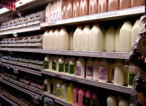 A row of different milk in the supermarket