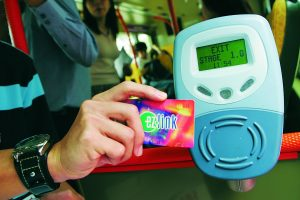 A disembodied hand holding an EZ-Link card in front of a reader. This is the prototype cashless Singapore.
