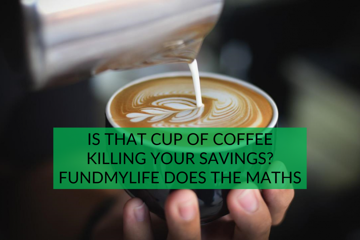A cup of milk is being poured into a cup of milk, with the caption asking whether is coffee killing your savings?