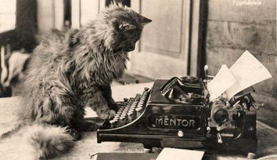 Cat looking at typewriter