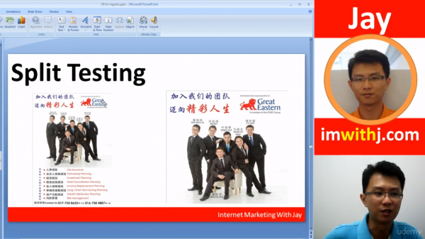 "A slide titled ""Split Testing"" is shown, together with two different images. The image on the left is wordy and the image on the right is less wordy."